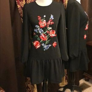 Express Embroidered Black Ruffle Hem Dress